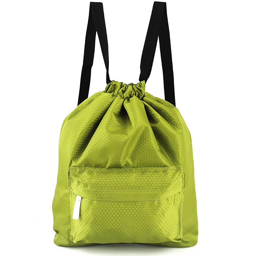 Peicees Waterproof Drawstring Sport Bag Lightweight Sackpack Backpack for Men and Women(Green 2)