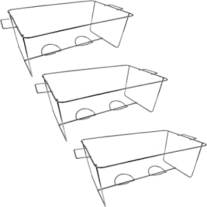 Party Essentials N512864 Chafing Racks/Wire Buffet Stands/Serving Trays Frame Food Warmer, 3 Count, Full Size Standard Chrome