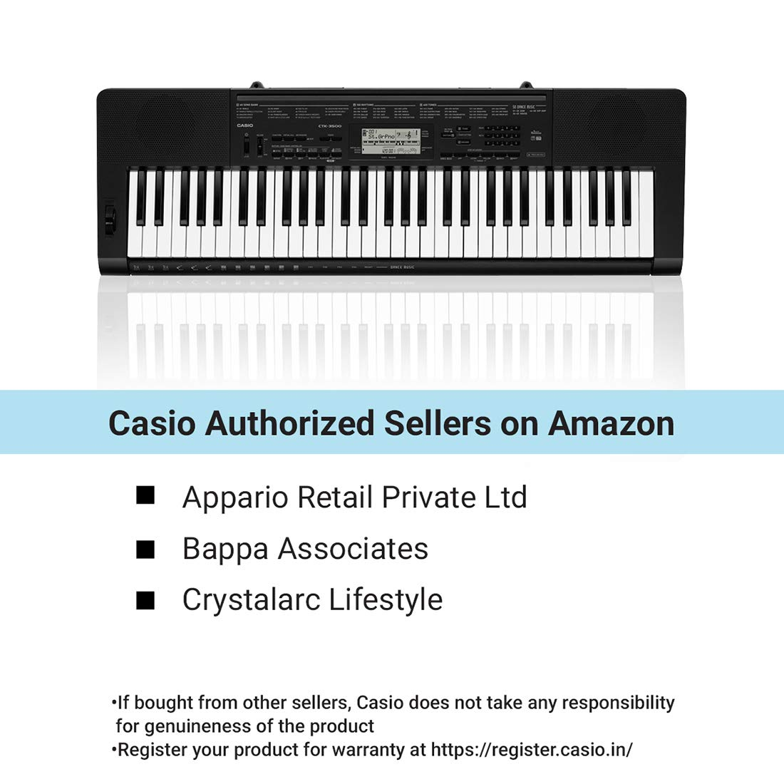 Casio Ctk 3500 61 Key Touch Sensitive Portable Keyboard With Power Supply