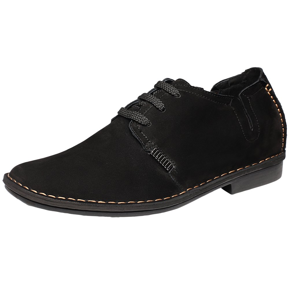 Chamaripa Black Suede Leather Elevator Men's Casual Shoes Increasing Height 2.56 Inch US 9