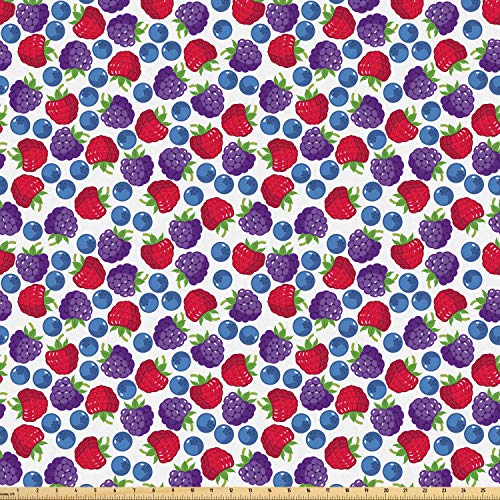 Ambesonne Colorful Fabric by The Yard, Wild Fruits Composition Raspberry Blueberry and BlackBerry Fresh Healthy Options, Microfiber Fabric for Arts and Crafts Textiles & Decor, 1 Yard, Multicolor