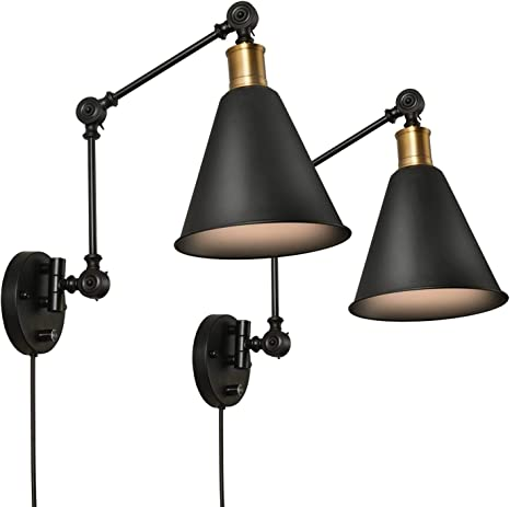 Sunvp Swing Arm Wall Lamp Plug In Cord Industrial Wall Sconce Plug In Or Hardwire With On Off Switch Wall Mounted Reading Light Fixture Set Of 2 Bedside Reading Lamp Amazon Com