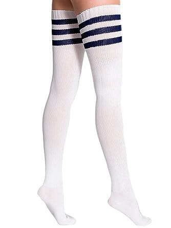 1c16532da718e American Apparel Stripe Thigh-High Socks - White / Navy / One Size: Amazon. co.uk: Clothing