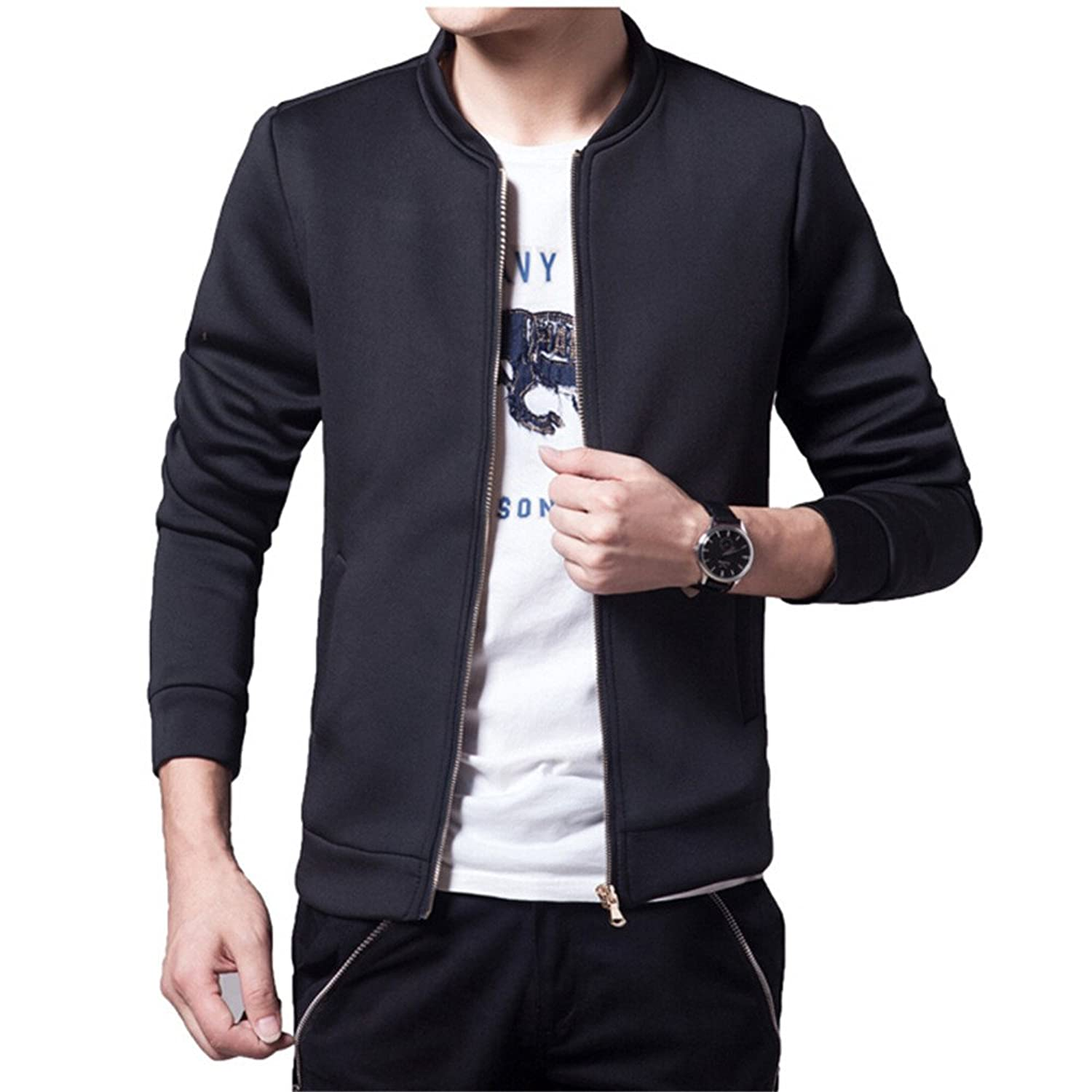 Ohaiquza Fleece-Outerwear-jacketsLeisure Solid Slim Memory Foam Spring Male Overcoats Chaqueta at Amazon Mens Clothing store: