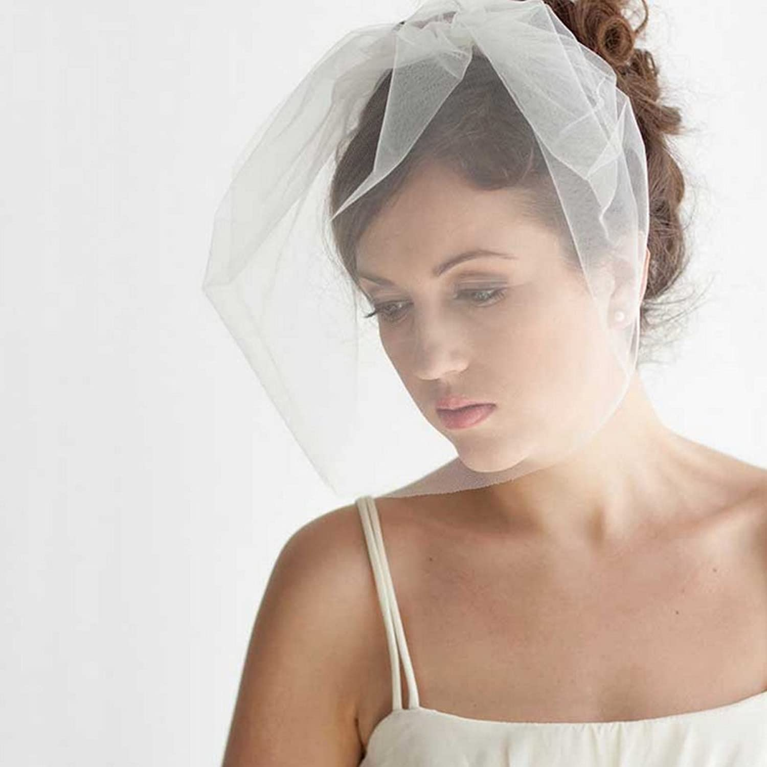 Jovono Bridal Hair Veil Net Veils Wedding Birdcage Veil Ivory with ...