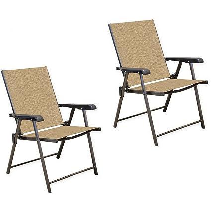 Peachy Amazon Com Never Rust Aluminum Sling Folding Chairs In Machost Co Dining Chair Design Ideas Machostcouk