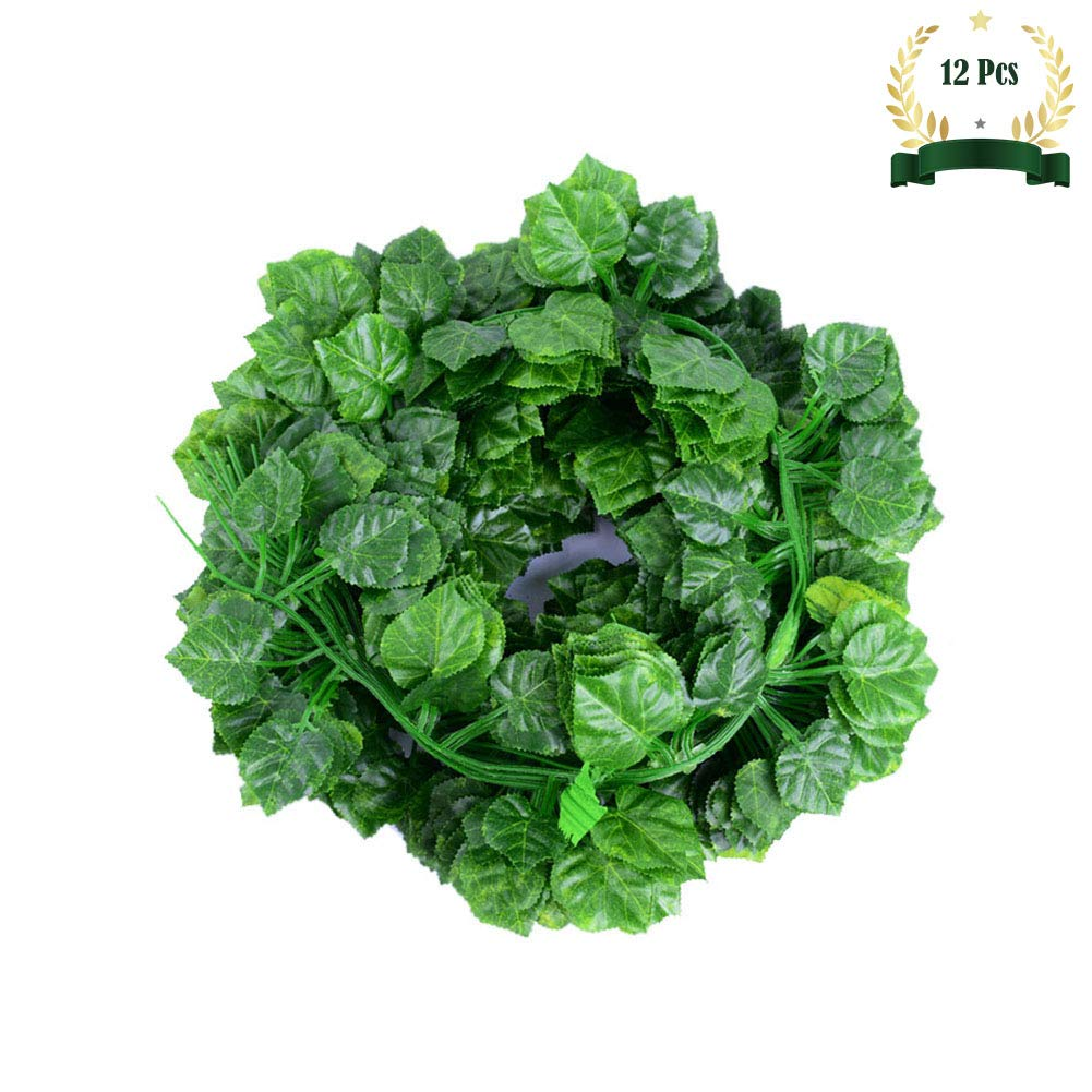 Feicuan Artificial Ivy Hanging Plants Green Leaves - 12 Pack 83ft Fake Garland Plants Vine Leaf Greenery Wreath Outdoor Home Wall Party Decor