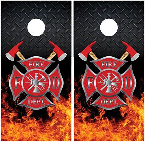 Firefighter Emblem Diamond Plate Flames Fire LAMINATED Cornhole Board Decal Wrap Wraps