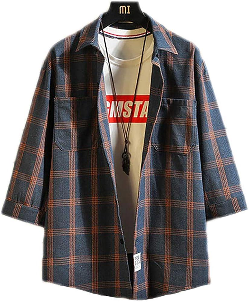 GERPY Camisa Casual de Tres Cuartos para Hombre Camisa Japonesa de Rayas escocesas de Streetwear Camisa Coreana para Hombres Camisa de Franela Chemise Vintage Ropa de Hombre: Amazon.es: Ropa y accesorios