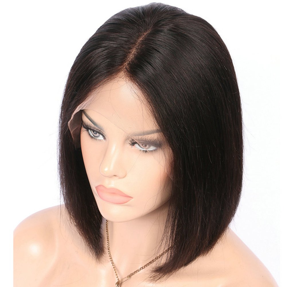 GRACE PLUS Short Bob Wigs Brazilian Remy Hair Straight 13x4 Lace Front Human Hair Bob Wigs for Women 130% Density Pre Plucked with Baby Hair Natural Color (10 Inch)