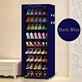 Styleys Multipurpose Portable Folding Shoes Rack 9 Tiers Multi-Purpose Shoe Storage Organizer Cabinet Tower with Iron and Nonwoven Fabric with Zippered Dustproof Cover (Dark Blue)
