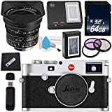 Leica M10 Digital Rangefinder Camera (Silver) + Leica Super-Elmar-M 18mm f/3.8 ASPH. Lens + 77mm 3 Piece Filter Kit + 64GB SDXC Card + Card Reader + MicroFiber Cloth Bundle