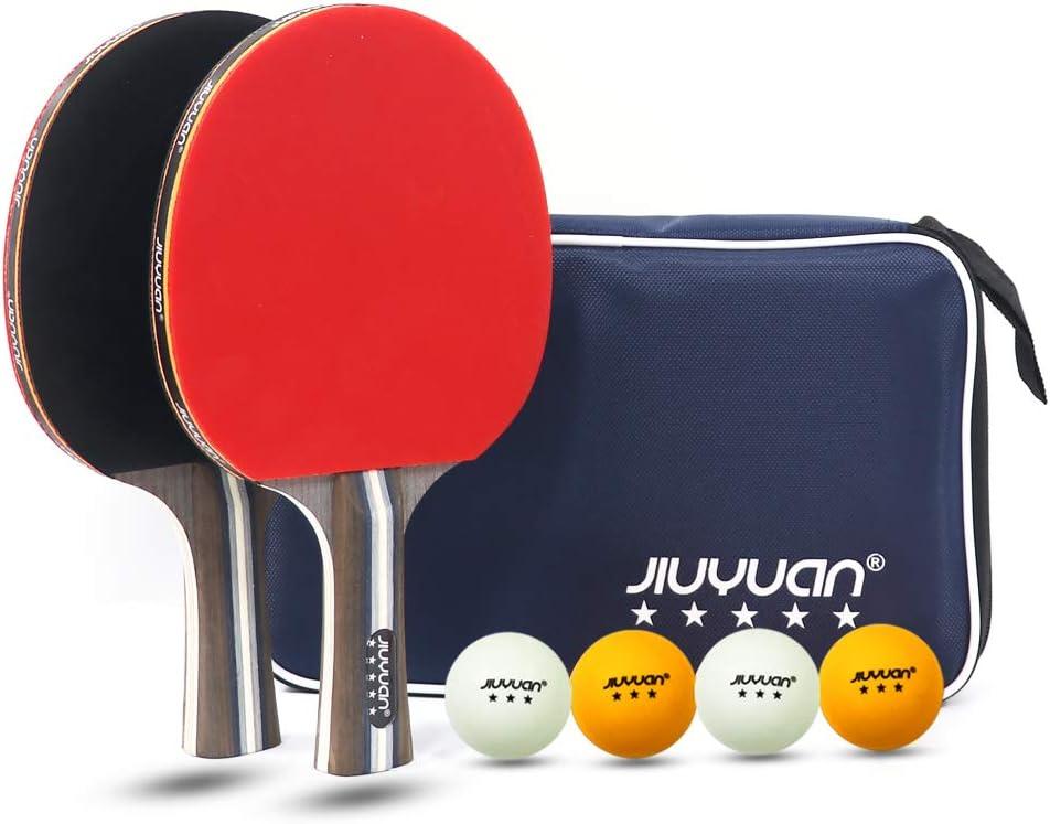 JIUYUAN Juego de bate de tenis de mesa profesional, bate de tenis de mesa con pelotas, 2 palos de tenis de mesa de 5 estrellas y 4 pelotas de tenis de mesa premium de 3 estrellas y 1 bolsa