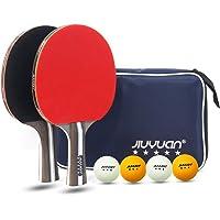 JIUYUAN Professional - Juego de Ping Pong de Mesa (2 Raquetas de 5 Estrellas y 4 Pelotas de Tenis de Mesa de 3 Estrellas…