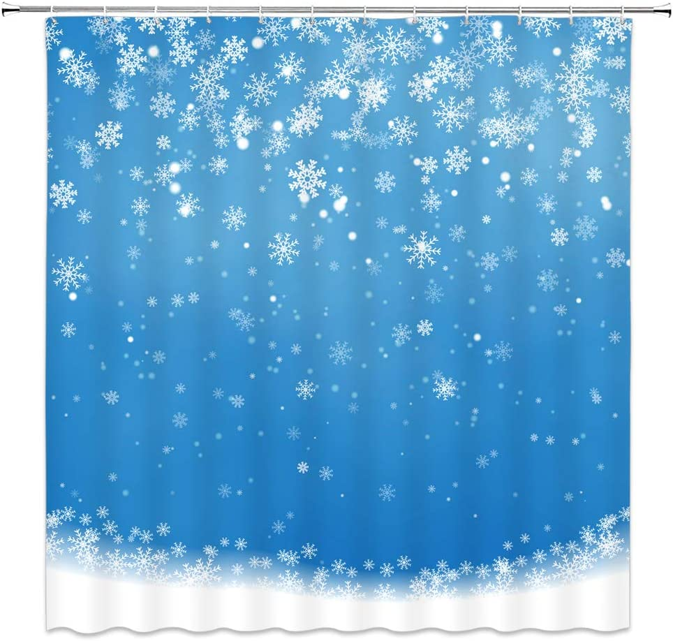WZFashion Snowflake Shower Curtain, Snowy Snowflake Winter Kids' Happy New Year Festive Merry Christmas Decor,Simple Blue Xmas Bathroom Curtain Set Fabric with Hooks