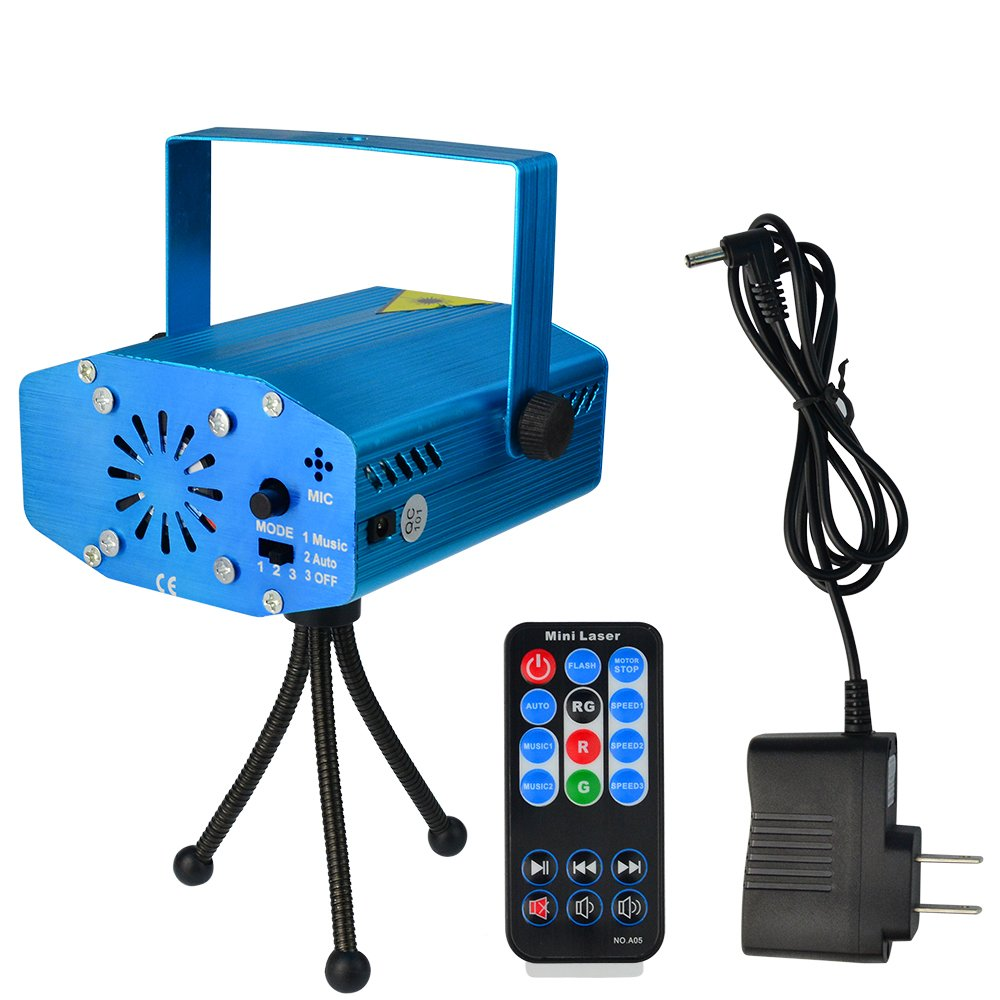 SUMERSHA LED Laser Lights Sound Activated Disco DJ Party Lights Mini Auto Flash RG Led Stage Lights with Remote Control Strobe Lights for Party Show Birthday Wedding Halloween Blue by SUMERSHA