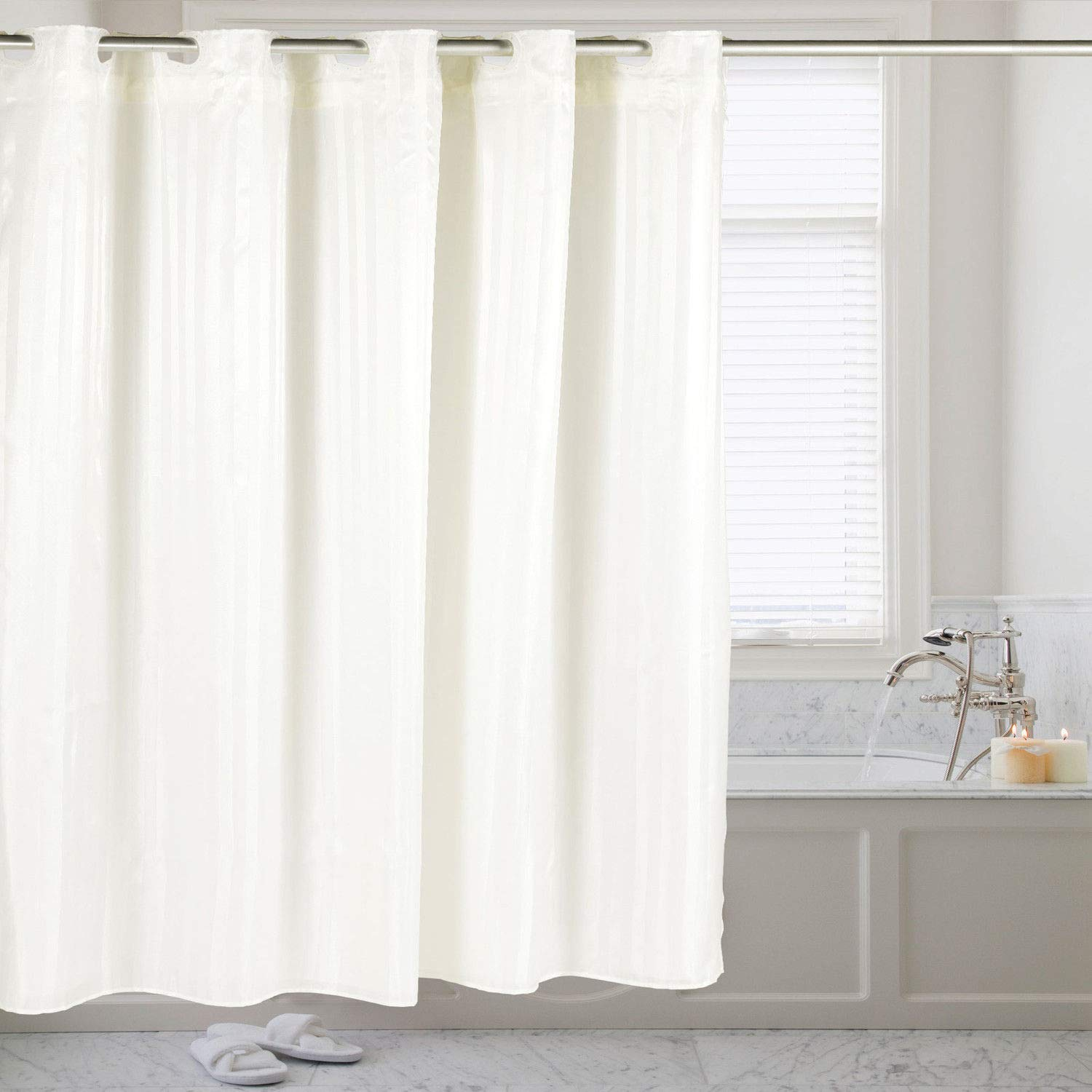 DN_LIN New Hookless Fabric Dobby Stripe Shower Curtain with Snap Off Liner 70''x75'' - White.