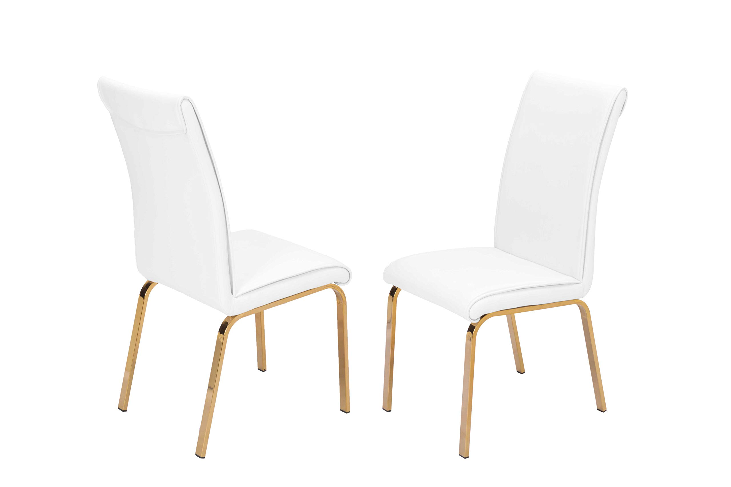 Best Quality Furniture Dining Chair Only (Set of 2), White, Gold by Best Quality