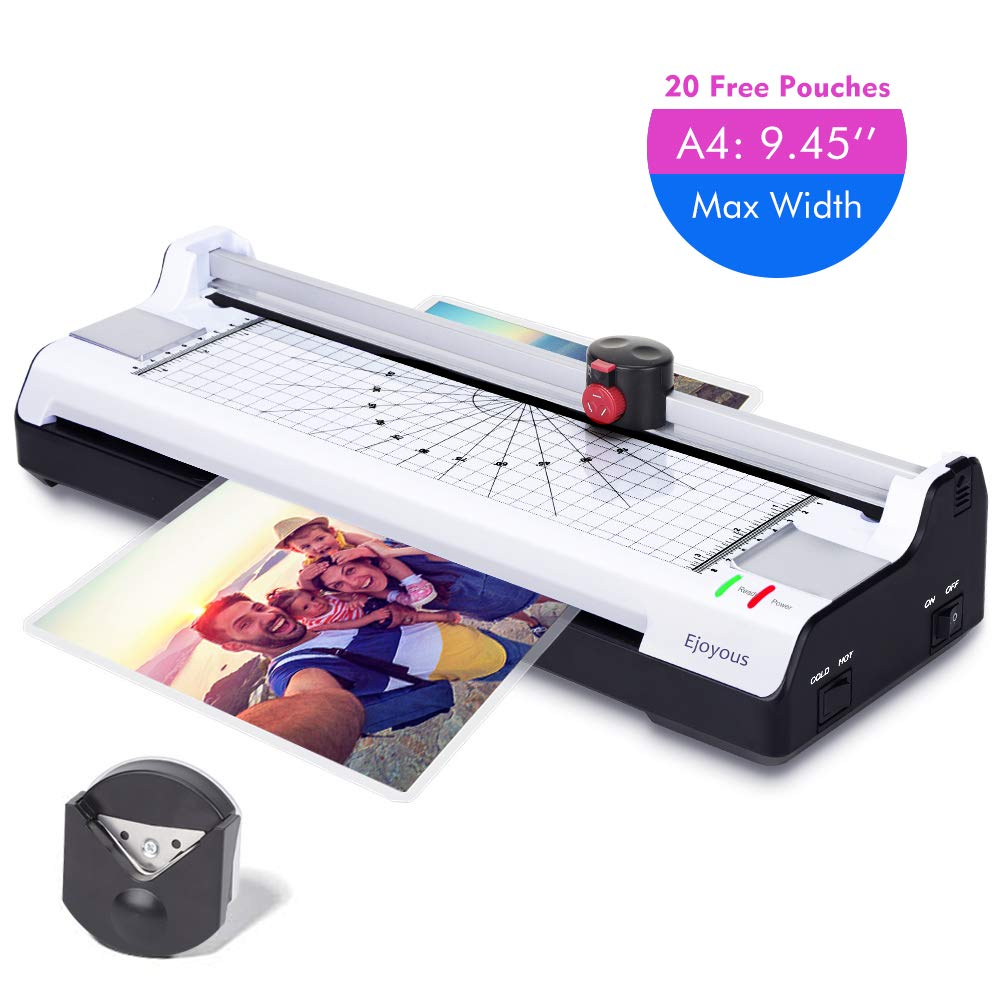 """Ejoyous 4-in-1 Hot and Cold A4 Laminator Machine with 20 Pouches, Trimmer and Corner Rounder, Laminating Machine Support 9.45"""" Max Width, 4 Mins Warm Up, 3 Cut Ways, Jam Free for Home Office School"""