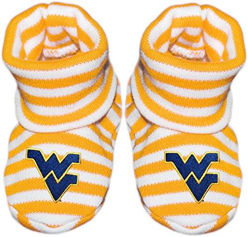 West Virginia University Newborn Baby Striped Bootie Sock
