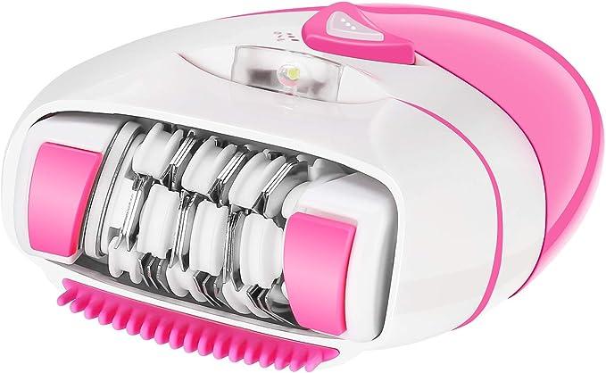 Depiladora Electrica Mujer Inalámbrica con Luz LED - 2 Ajustes de Velocidad con Tecnología Pinzas Micro-grip ...