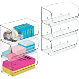 mDesign Plastic Stackable Bin with Open Front for Organizing Home Office, Desk Drawer, Shelf or Closet to Hold Staples, Highlighters, Sticky Notes, Adhesive Tape, Paperclips, Small, 6 Pack - Clear