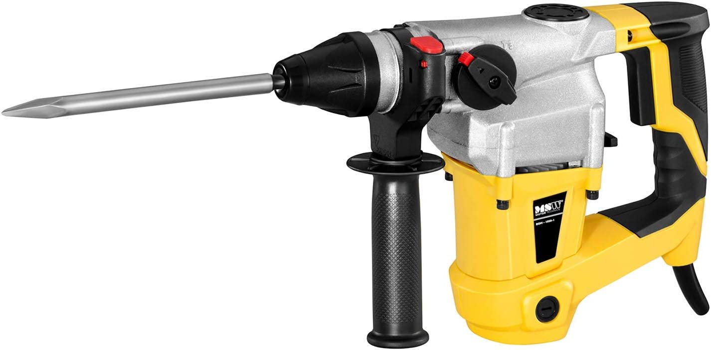 MSW Marteau Perforateur D/émolisseur Burineur Avec Gants De Travail BOH-1400-SET 1400 W, 3530 Coups//Min, 9 Joules, Mandrin SDS-MAX, Accessoires Et Coffret