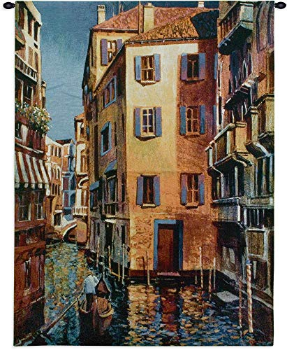 (Venetian Light by Michael O'Toole | Woven Tapestry Wall Art Hanging | Romantic Gondolas in Venitian Water Canals |100% Cotton USA Size 53x40)
