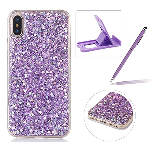 Rubber TPU Case For iPhone X,Herzzer Slim Lightweight Color Changing Glittering Luxury Unique [Purple Sequins] Bling Shiny Sparkle Soft Gel Clear Bumper Frame Cover for iPhone X - Electric Shock Laser