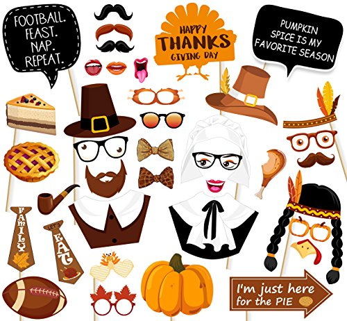 Funny Homemade Halloween Decorations (47Ct Thanksgiving Day Photo Booth Props - Funny Turkey Party Decorations)