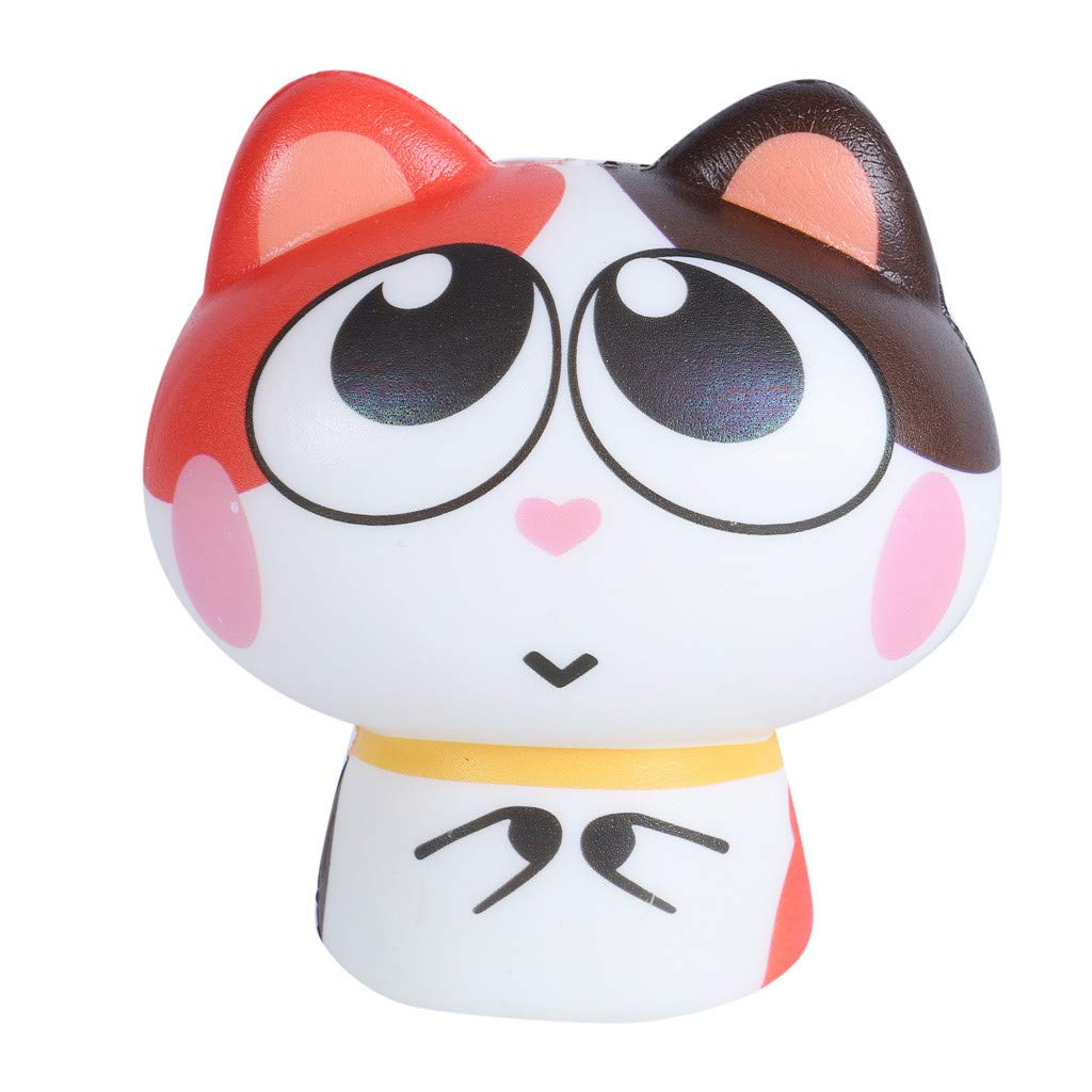 Livoty Jumbo Squishies Toy Exquisite Lovely Cat Squeeze Toy Scented Slow Rising Stress Relieve Toys (Red)