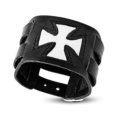 9135e71a0c8e BOBIJOO Jewelry - Bracelet de Force Homme Cuir Noir Templier Chevalier  Médiéval Croix Rouge Blanc -