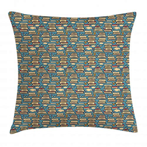 Pillow Cushion Cover, Repeating Pattern with Stack of Books Combined with Hearts Coffee and Nerd Glasses, Decorative Square Accent Pillow Case, 26 X 26 Inches, Multicolor ()