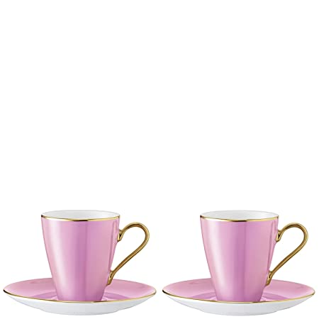 LSA International Sorbet Coffee Cup and Saucer 0.1L x 2, Rose, 13 x ...