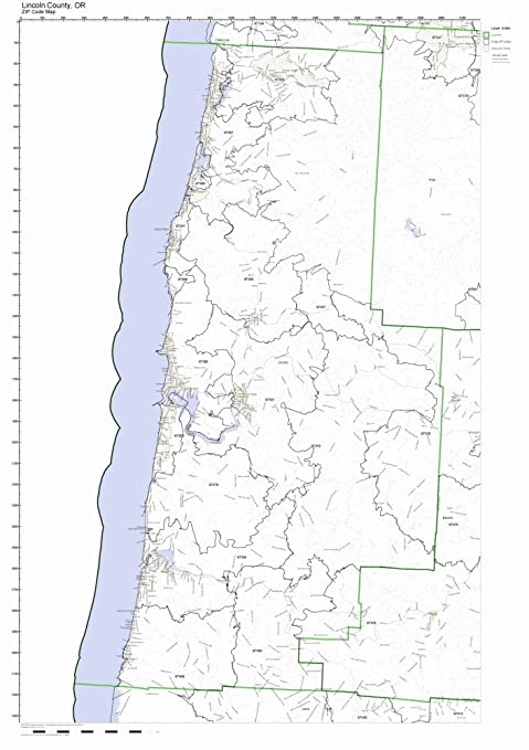 Zip Code Oregon Map.Amazon Com Lincoln County Oregon Or Zip Code Map Not Laminated