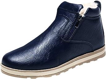Hommes Casual Imperméable Bottes Flats Fashion Bottines Chelsea Chaussures Bleu Noir