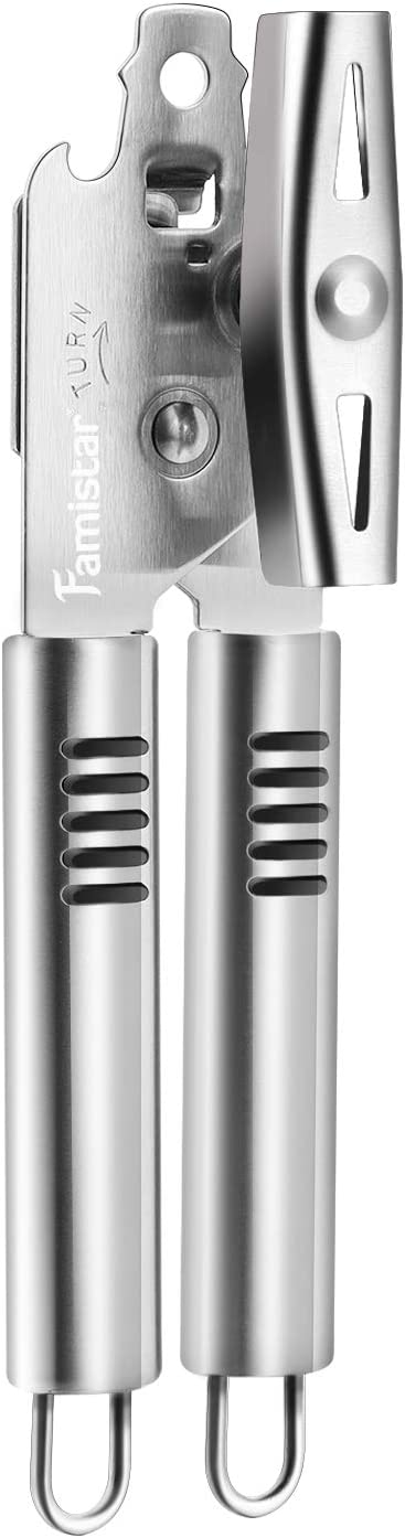 Manual Can Opener,Famistar Stainless Steel Smooth Edge Good Grips Can Tin & Jar Opener ,Sharp Blades Easily Open Tin Cans