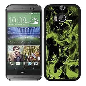 Funda carcasa para HTC One M8 diseño efecto humo verde borde negro
