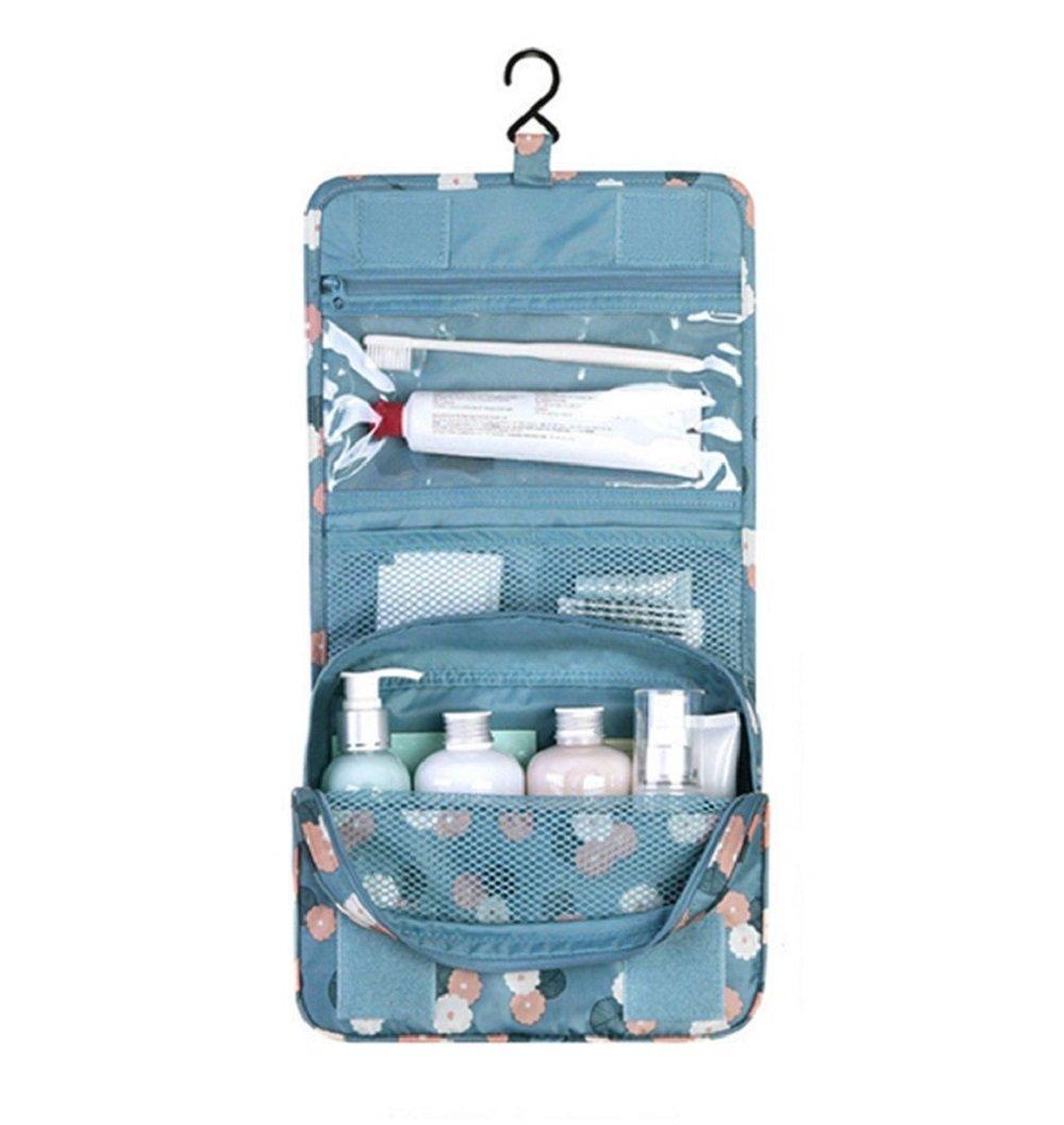NOVAGO Grande Trousse de toilette pliable, trousse maquillage pliable et compacte (Bleu Foncé)