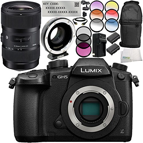 Panasonic Lumix DC-GH5 Digital Camera with Sigma 18-35mm f/1.8 DC HSM Art Lens + Metabones T Speed Booster XL 0.64x Adapter 13PC Kit – Includes Panasonic V-Log L Function Activation Code + MORE by SSE