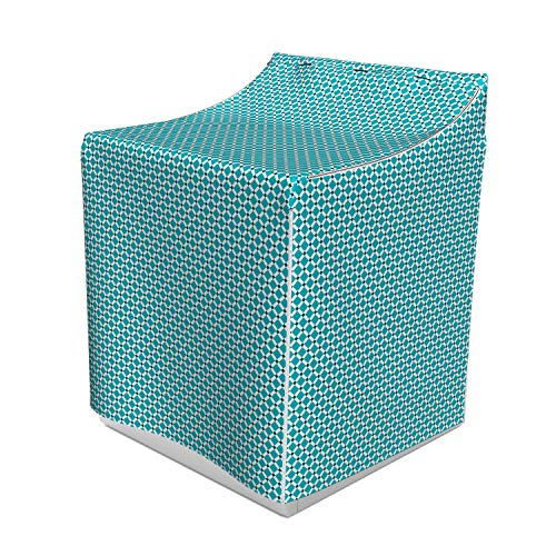 (Ambesonne Teal Washer Cover, Diagonal Check Classical Pattern Intersecting Lines Rhombus Grid Geometric Design, Suitable for Dryer and Washing Machine, 29