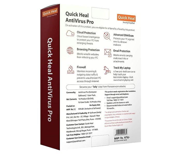 Quick Heal Antivirus Pro Latest Version - 1 PC, 1 Year (CD/DVD)