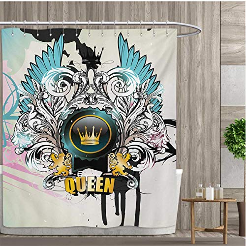 Arm And Victorian Escutcheon - smallfly Queen Shower Curtains Fabric Artistic Design Arms Shield with Crown Wings and Victorian Floral Elements Imperial Bathroom Decor Set with Hooks 66