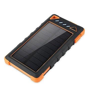 Aedon A1 10000mAh cargador solar - el banco portable de la energía solar cargador de baterías externas 2 USB con 21 luces LED(Naranja)