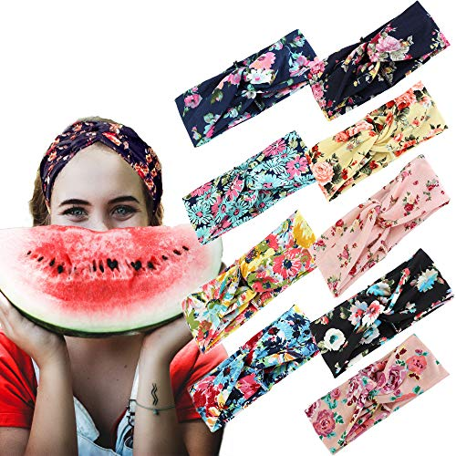 Adramata 9 Pcs Headbands for Women Girls Wide Boho Knotted Yoga Headband
