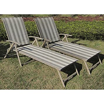Charmant Amazon.com : Folding Patio Lounge Chair Set Of 2. These Sun Tanning Chairs  Are The Perfect Bundle For Your Patio Deck Or Backyard! : Garden U0026 Outdoor