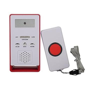 Botón de Llamada del Cuidador inalámbrico Sistema de Alerta Transmisor y Receptor para Pacientes Ancianos Niños Embarazadas(Red): Amazon.es: Bricolaje y ...