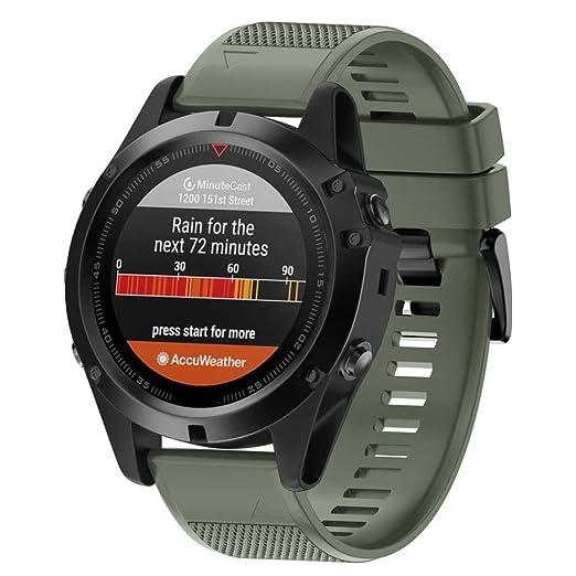 Wokee Luxery - Correa de repuesto de silicona para reloj GPS Garmin Fenix 5X, color Army Green: Amazon.es: Relojes