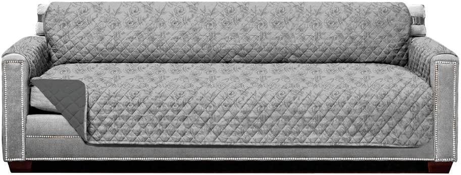 Sofa Shield Original Patent Pending Oversized XX-Large Sofa Slipcover, Seat Width up to 88 Inches, Reversible Furniture Protector with Straps, Couch Slip Cover Throw, Vintage Floral Lt Gray Charcoal