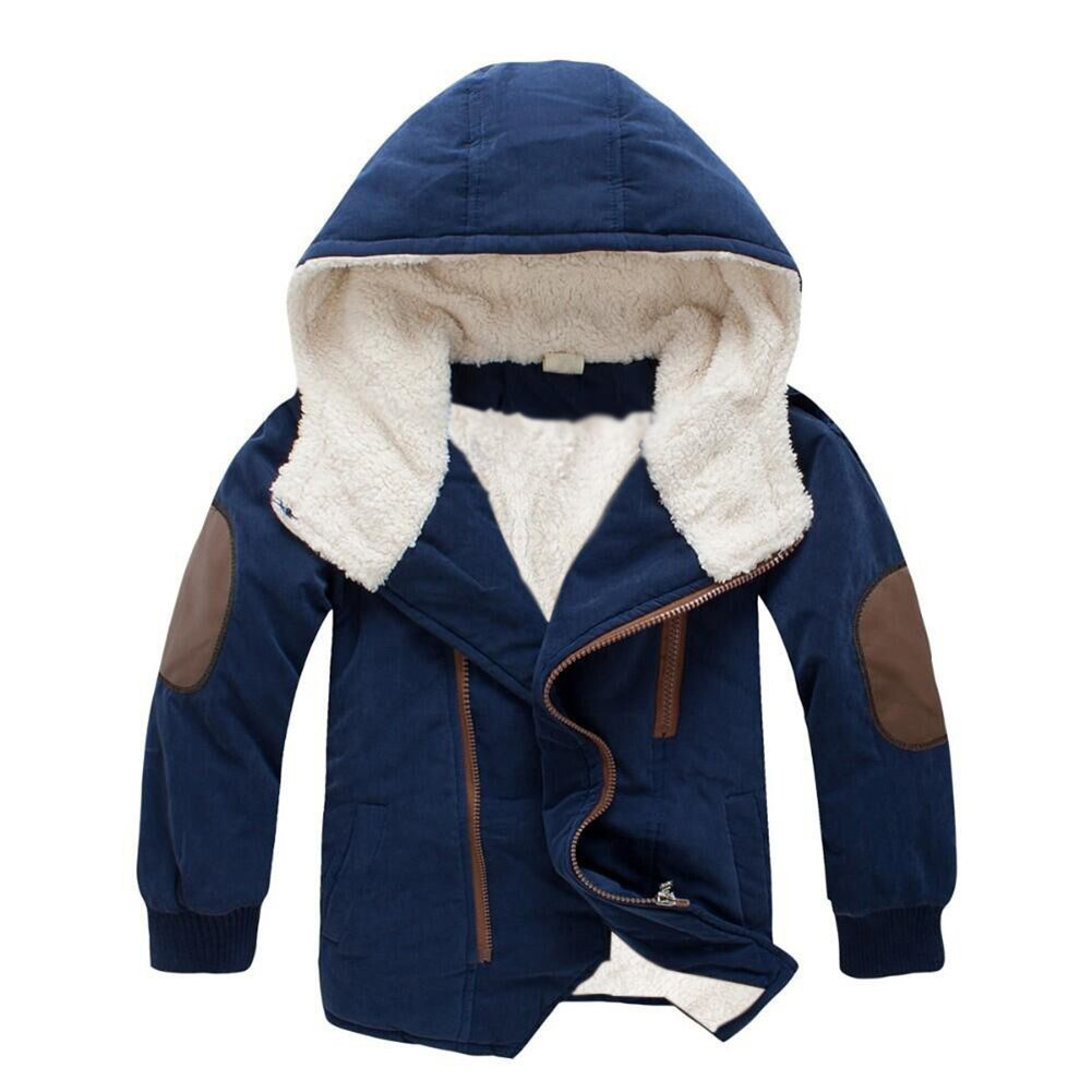 Boys Winter Fleece Jacket Coat Kids Warm Thicken Hoodies Outwear Overcoat Oblique Zipper Navy 130